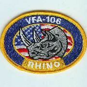 Usaf Air Force Vfa-106 Yellow Oval Rhino Frs Rag Embroidered Jacket Patch