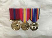 Us Marine Corps Anodized Medals Good Conduct National Defense Gwot Dress Blue