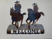 Horses And Riders Welcome Sign Cowboy And Cowgirl On Horseback Plasma Cut Metal Art