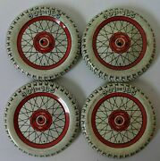 Set Of 4 Vintage Tin Lithographed Balloon Dunlop Cord Toy Wheels Tires 901x135