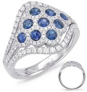 Wide 1.33ct Diamond And Aaa Sapphire 14kt White Gold 3d Multi Flower Etoile Ring