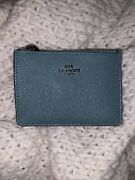 Teal Certified Coach New Mini Id Skinny Wallet With Keychain Attachment