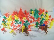 Vintage Lot Of Over 70 Western Cowboys And Indians Plastic Figures Tipi Horses