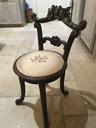 Antique Black Forest Swiss Wood Carved Faux Bois Chair -childs Music Or Vanity