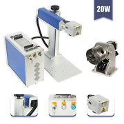 20w Split Fiber Laser Marking Engraving Machine And Rotary Axis Include