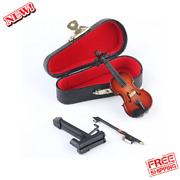 Dselvgvu Wooden Miniature Violin With Standbow And Case Mini Musical Instrument