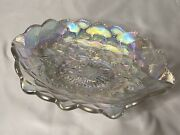Vintage Iridescent Imperial Carnival Glass Quilted Floral Pansy Oval Bowl 9andrdquo