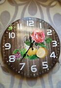 Nib Fruit Wine Roses Composite Wood Round Wall Clock Easy To Read 12x 12 Inches