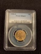 1886-s 5 Pcgs Ms63+ United States Of America Gold Coin