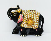 Indian Beads Elephant Hand Carved Wooden Decorative Sculptures