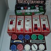 10 Boxes Of Hoyle 100 Ct Poker Chips Sets And 200 Cardinal Chips W/holder