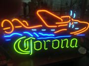 Vintage Corona With Airplane Neon Beer Sign Collectible Great For Man Cave