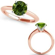 3 Carat Real Fancy Green Diamond 14k Rose Pink Gold Solitaire Engagement Ring