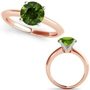 2.50 Carat Real Fancy Green Diamond 14k Rose Pink Gold Solitaire Engagement Ring