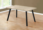 Dining Table Dark Taupe Top Black Metal Leg Thick Sturdy Panel Kitchen Furniture