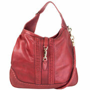 62420 Auth X Green Carpet Challenge Burgundy Leather New Jackie Hobo Bag