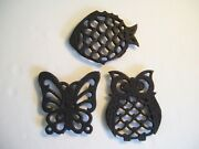 3 Vintage Black Cast Iron Metal Trivets Owl / Fish / Butterfly Stamped Taiwan
