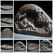 Chinese Old Wooden Statue Carvings Rosewood Wood Carving Wooden Tyre Ink Slab
