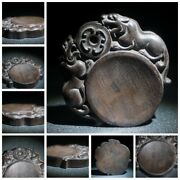 4 Chinese Old Wooden Statue Carvings Rosewood Wood Carving Wooden Tyre Ink Slab