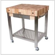 Restaurant Solid Maple Butcher Block Table With Wheels Kitchen Island Cart Thick