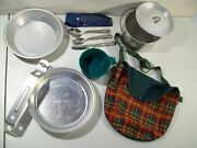 Vintage Girl Scout Mess Kit With Pouch Boy Scouts Cup Fork Spoon Knife Utensils