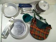 Vintage Girl Scout Mess Kit With Pouch, Boy Scouts Cup Fork Spoon Knife Utensils