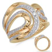 Estate Wide .49ct Diamond 14kt Yellow Gold 3d Multi Row Double Leaf Fun Ring