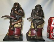 Antique Heavy Austrian Bronze Monkey Darwin Science Statue Sculpture Bookends