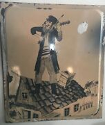 Beautiful Rare Porcelain Enamel Sign Fiddler On The Roof Size 211/2 -19and039and039inches