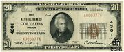 1929 Us 20 Brown Seal Corvallis, Or National Currency Note Ch4301 Low S/n Rare