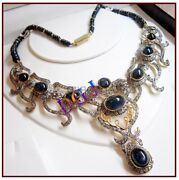 925 Sterling Silver Rose Cut Diamond Necklace Sapphire Victorian Style Jewelry