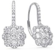 1.55ct Diamond 14kt White Gold Flower Cluster Invisible Square Hanging Earrings