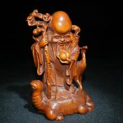 Chinese Old Wooden Statue Carvings Decor Sculpture Boxwood Wood Buddha Dharma