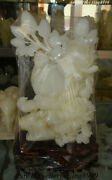 Unique China 100 Natural Afghan White Jade Carved Flower Bird Exquisite Statue
