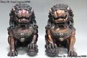 Chinese Red Bronze Copper Evil Door Guardian Fu Foo Dogs Lion Beast Statue Pair