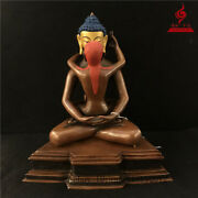 12 China Old Antique Copper Gilt Coloured Painting Samantabhadra Statue