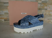 Miu Size 40 Platform Ankle-strap Wedges Glitter Astro Shoes Previously