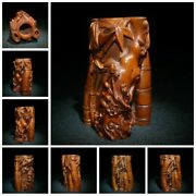 Old China Antique Folk Art Wood Carvings Brush Pot Wooden Statue Carvings Bamboo