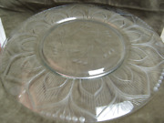 1940and039s Libbey Rock Sharpe Crystal Mosque Cut Rose Super Rare Glass Large Tray