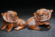 A Lion Pair Sets Old Antique Chinese Wood Carving Wooden Statue Carvings Decor