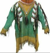 Native American Western Style Suede Leather Jackets Fringes Beads Work War Shirt