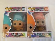 Funko Pop Good Luck Trolls Lot Of 2 Teal And Orange 's 02 And 04 Figures