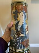 Antique Mettlach Villeroy And Bach 2682 German Beer Stein Pitcher Woman W/ Grapes
