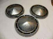 1960-61 Ford Vintage Oem 10 1/2 Back Poverty Hubcap Wheel Covers Lot Of 3 Used