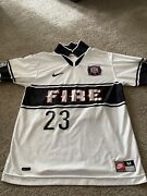 Menand039s Nike Chicago Fire White Jersey 23 Soccer Jersey Mls 90s - Rare
