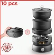 Outdoor Camping Cookware Set Marching Utensils Tableware Cooking Alcohol Cooker