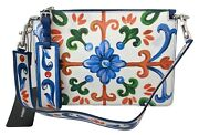 Dolce And Gabbana Bag Cleo Leather White Majolica Print Shoulder Purse Rrp 2400