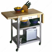 Maple Butcher Block Kitchen Island Cart With Wheels Stainless Drawer 20x50