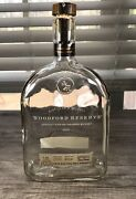 Woodford Reserve Kentucky Bourbon Whiskey Empty Clear Glass Bottle And Cork Cap