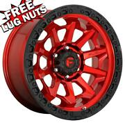 20 Inch 20x10 Fuel D695 Covert Candy Red Wheels Rims 6x5.5 6x139.7 -18